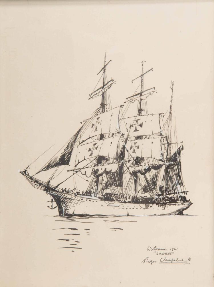 CHAPELET Roger   Le Sagres, Lisbonne 1861,Navire école Encre de Chine, 23 x 17 cm. Signé Roger Chapelet en bas à droite.