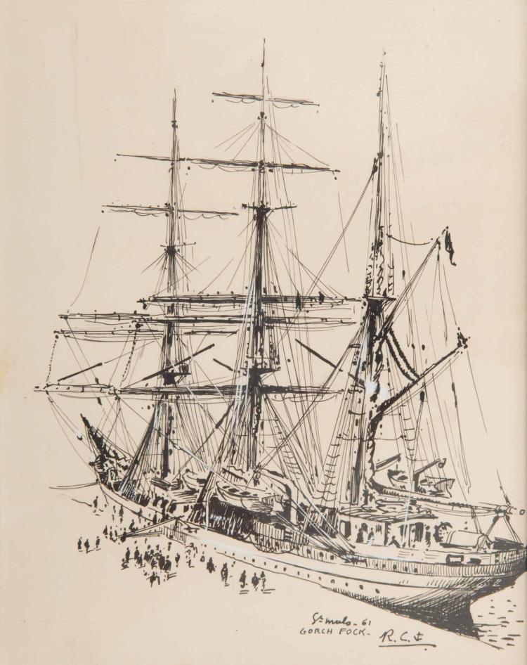 CHAPELET Roger   Le Gorch Fock, Navire école de le Marine Allemande, Saint Malo 1961. Encre de Chine, 22 x 17 cm. Monogrammé en bas à droite.