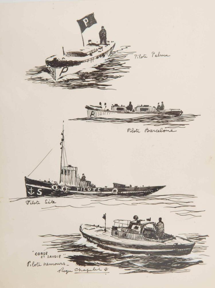 CHAPELET Roger   Suite de 4 dessins de bateaux pilote : Palma, Barcelone, Sète, Nemours Encre de Chine, 26 x 20 cm. Signé Roger Chapelet en bas à gauche.