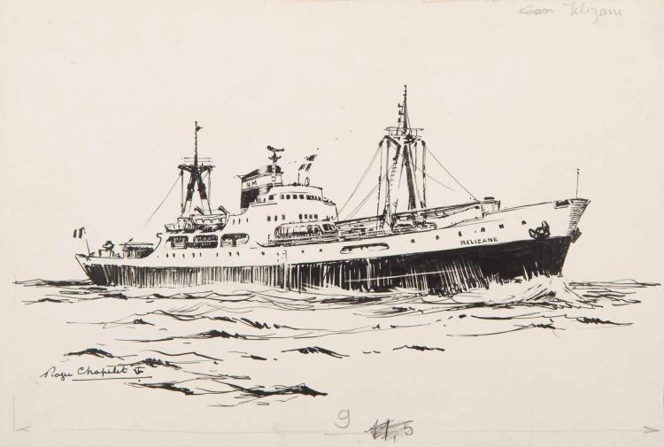 CHAPELET Roger   Le Relizane, Cargo, Compagnie de Navigation Mixte Encre de chine, 18 x 26 cm Signé Roger Chapelet en bas à gauche.