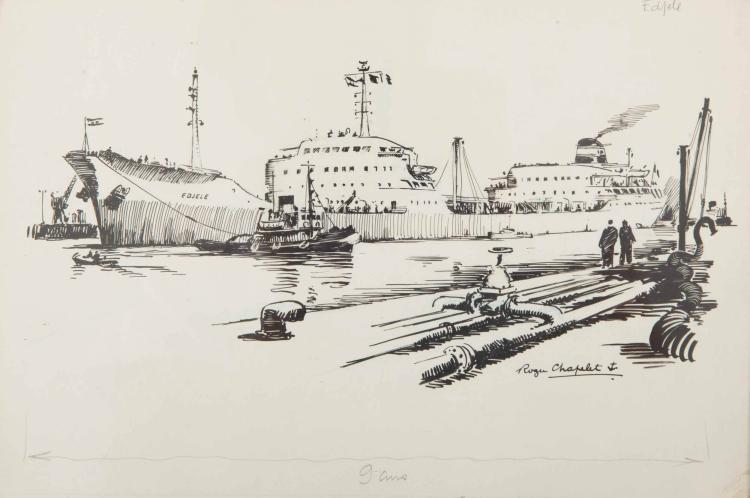 CHAPELET Roger L'Edjele, Pétrolier, compagnie de Navigation Mixte Encre de chine, 20 x 29 cm. Signé Roger chapelet en bas à droite.
