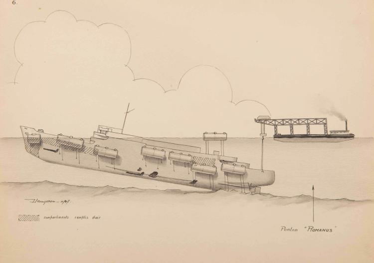 LAUGERON Renflouement du paquebot Kairouan sabordé sur le Virgilio (Italie)par 30 m (17 août 1944), Novembre 1947 Suite de 6 dessins, 24 x 32 cm. Chacun signé.