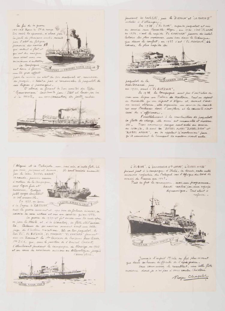 CHAPELET Roger   Le Mustapha II, 1913, Le Gouverneur général Tireman, 1922, L'El Mansour, 1933, Le Djebel Aures, 1943, Le Djebel Nador, 1937, l'El Djezaïr. 4 encres de Chine, 27 x 20 cm. 1 signée.