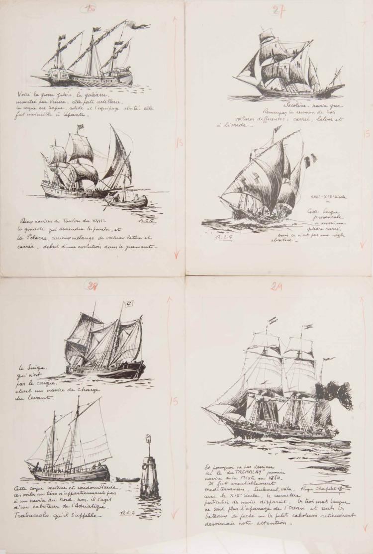 Parties d'un manuscrit illustré sur l'histoire des bateaux méditerranéens.   CHAPELET Roger   Une galère, une polacre, une sacolève, une barque provençale, un saïque, le Trabaccolo, le Tremblay. 4 encres de chine, 30 x 22 cm. Signé ou monogrammé.1 signée.
