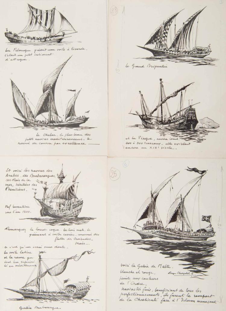 CHAPELET Roger   Une felouque, un Chebec, le Grand Brigantin, une pinque, une nef levantine, une galère barbaresque, une galère de Malte 4 encres de Chine, 24 x 19 cm. La dernière signée.