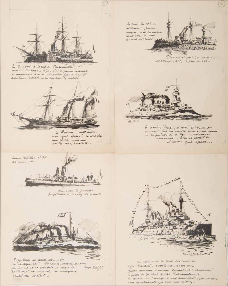 CHAPELET Roger   Bateaux de guerre français : le Redoutable, le Renard, l'Amiral Duperré, le Dupuy de Lôme, un torpilleur, le Lansquenet, le Danton. 4 encres de chine, 24 x 19 cm. 2 signées.