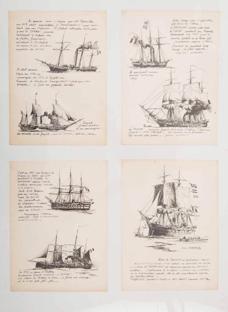 CHAPELET Roger   Bateaux de guerre français : le Sphinx, le Gomer, le Napoléon, la Gloire, le Corse, le Pomone, le Magenta 4 encres de Chine, 27 x 20 cm. 1 signée.