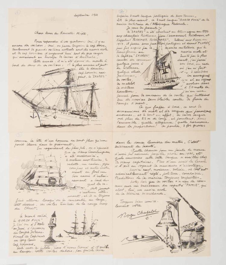 CHAPELET Roger   Manuscrit à l'encre de Chine d'une lettre autographe