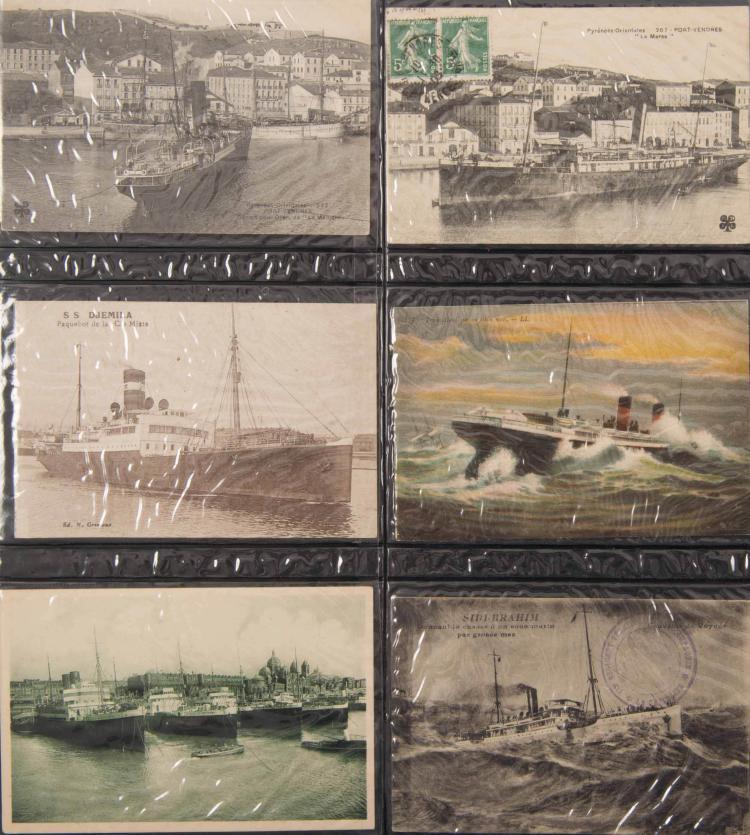 Bateaux des messageries maritimes Un album de 122 cartes postales On joint un lot de cartes postales mixtes et autres ainsi qu'une boite de cartes postales de bateaux de commerce.