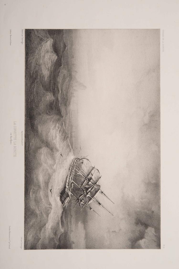 LAUVERGNE Barhtélémy      - 2 lithographies de dessins sur le Cap Horn : La Corvette la Bonite au Cap Horn, Iles et bancs de glace au Cap Horn Planches tirées de l'ouvrage in-folio de Vaillant Auguste-Nicolas, «Voyage autour du monde exécuté pendant les année 1836 et 1837 sur la Corvette de Sa Majesté La Bonite».