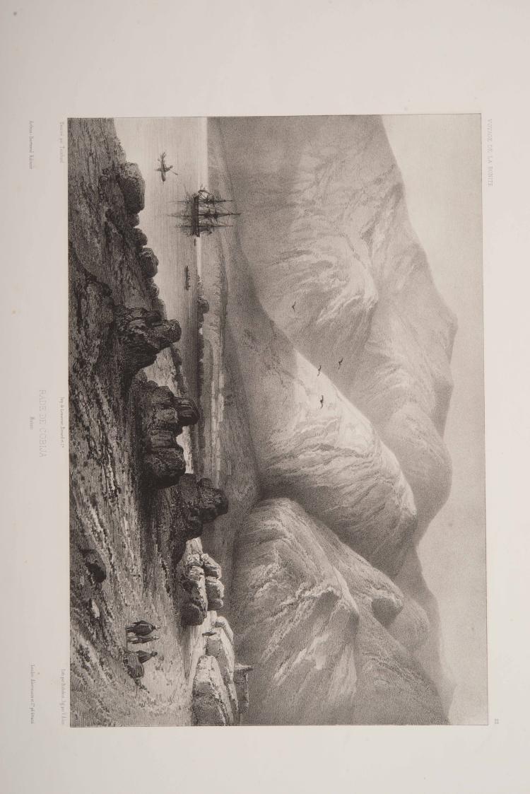 TOUCHARD      - Lithographie d'un dessin sur la Bolivie : Rade de Cobija Planche tirée de l'ouvrage in-folio de Vaillant Auguste-Nicolas, «Voyage autour du monde exécuté pendant les année 1836 et 1837 sur la Corvette de Sa Majesté La Bonite».