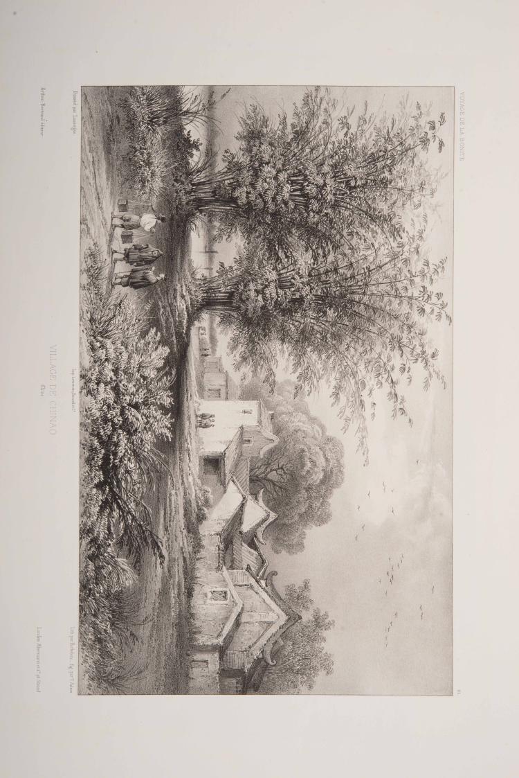 LAUVERGNE Barhtélémy - 3 lithographies de dessins sur la Chine :Village de Chinao, Mai - son d'un mandarin à Chinao, Couvent de la Guya à Macao Planches tirées de l'ouvrage in-folio de Vaillant Auguste-Nicolas, «Voyage autour du monde exécuté pendant les année 1836 et 1837 sur la Corvette de Sa Majesté La Bonite».