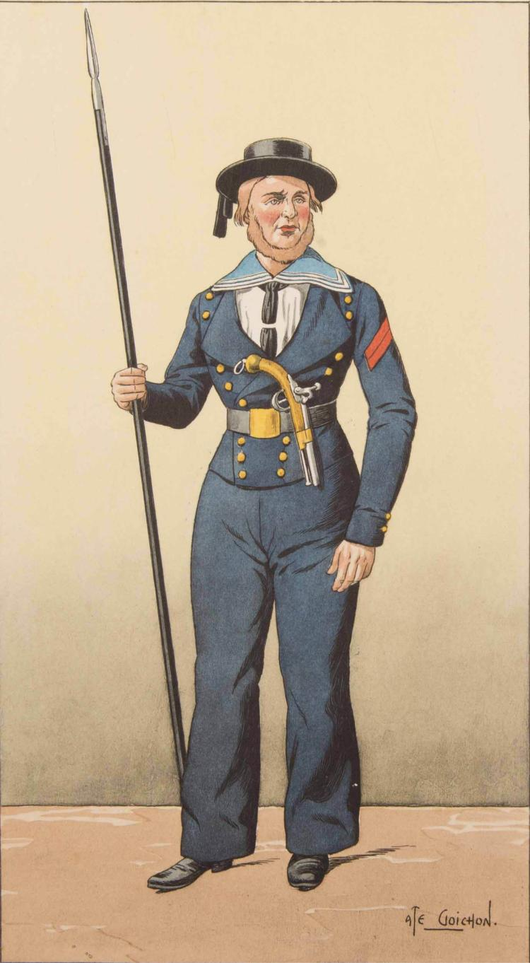 J. LETROSNE DESSINS DE GOIC HON. Hardes et uniformes de matelots Seize planches en couleurs. Exemplaire numéroté 58. Éditeur A. Fontaine, 1937, Paris.