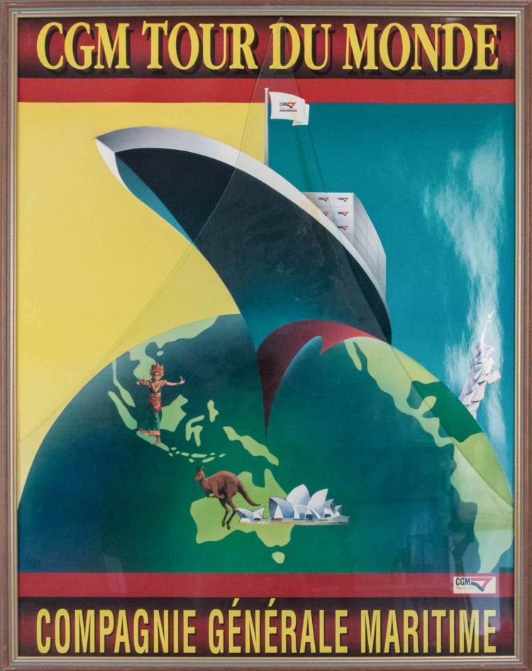 Compagnie Générale Maritime «Tour du Monde». Affiche de 80 x 60 cm. Navire avec danseuses à Bali, kangourou à Sydney, statue de la Liberté à New-York, encadrée.