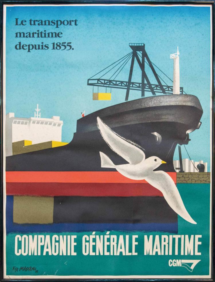 Compagnie Générale Maritime Le transport maritime depuis 1855. Belle affiche illustrée par Félix MASSEAU avec un navire à quai en opération de chargement vu du château à l'étrave par tribord avec mouette en vol au 1er plan. 80 x 60 cm. ; encadrée.