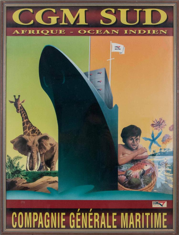 Compagnie Générale Maritime Afrique/Océan Indien. Affiche 80 x 60 cm., sur papier glacé. Un navire imposant vu par l'étrave bâbord entre girafes, éléphants, et un décor maritime avec jeune pêcheur au panier rempli de poissons et crustacés. Encadrée sous verre.