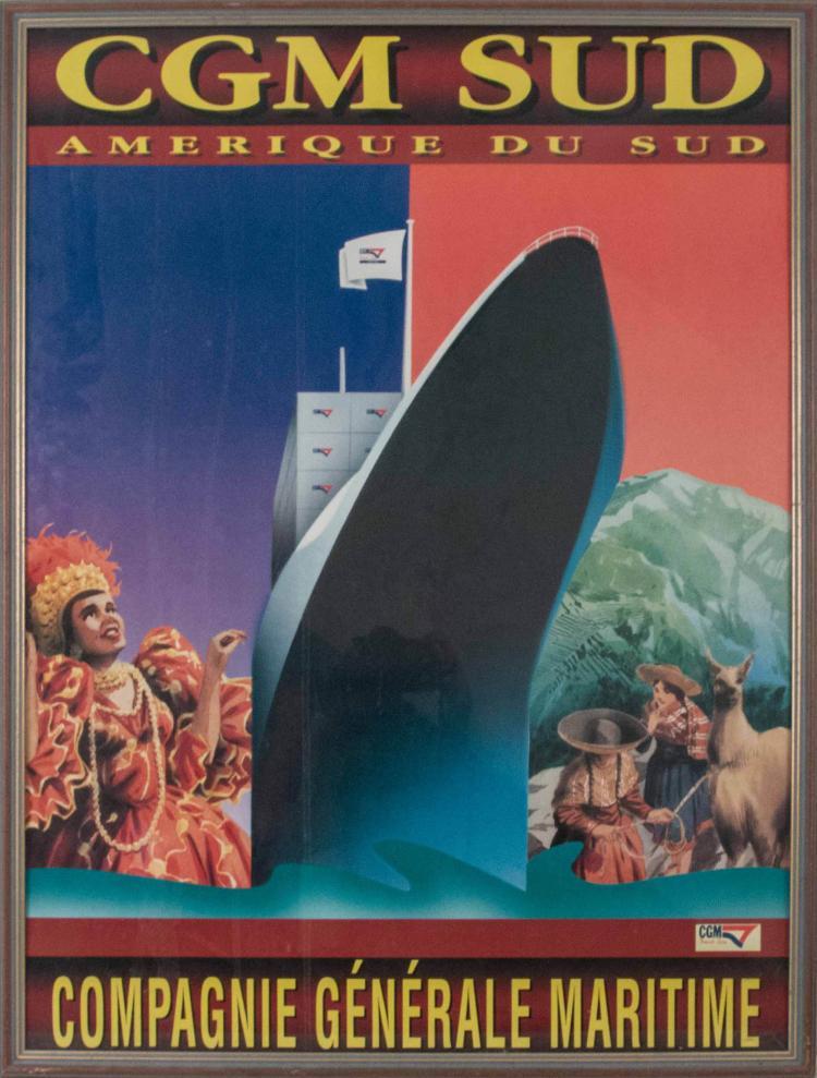 Compagnie Générale Maritime Amérique du Sud. Affiche 80 x 60 cm., sur papier glacé. Navire vu par l'étrave tribord entre montagnes des Andes avec personnages, lamas, et danseuse de Rio. Encadrée sous verre.