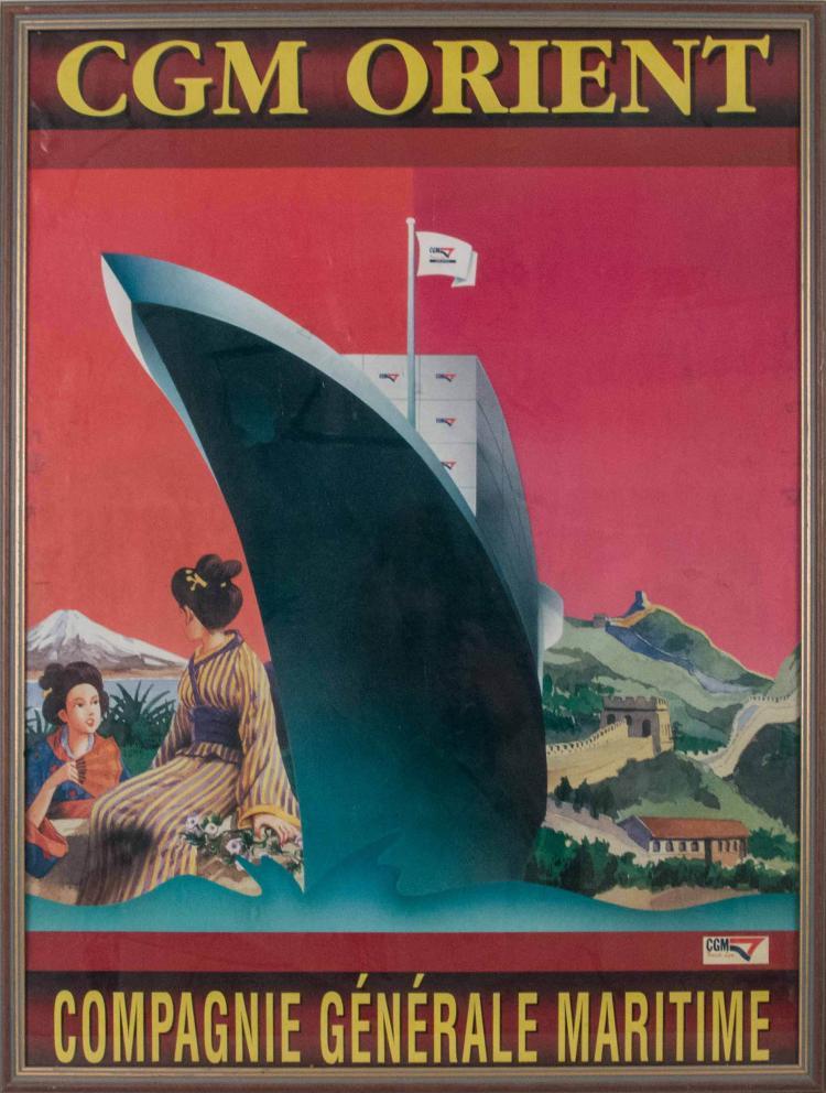 Compagnie Générale Maritime «d'Orient». Affiche 80 x 60 cm. Navire dans un décor japonisant et de muraille de Chine