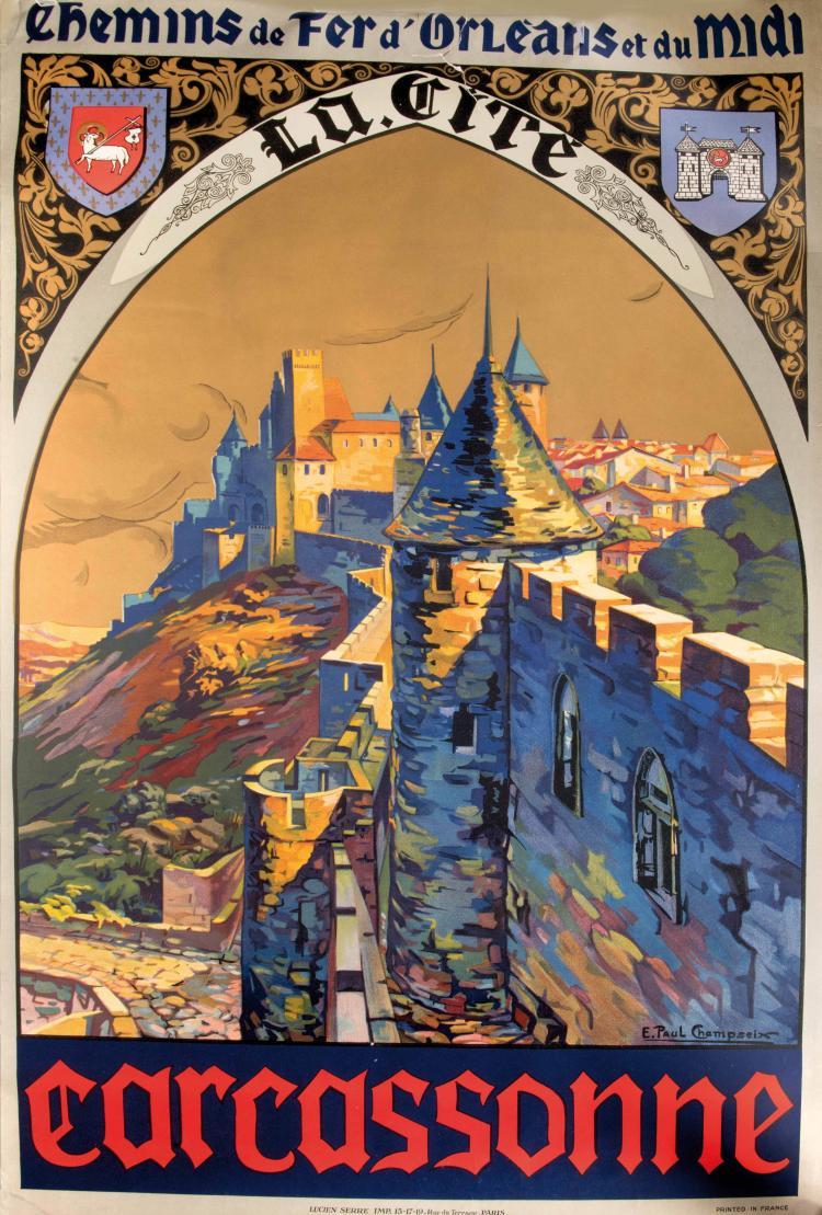 Paul CHAMPSEIX Chemin de fer d'Orléans et du Midi, Carcassonne, 100 x 62 cm. Déchirure.