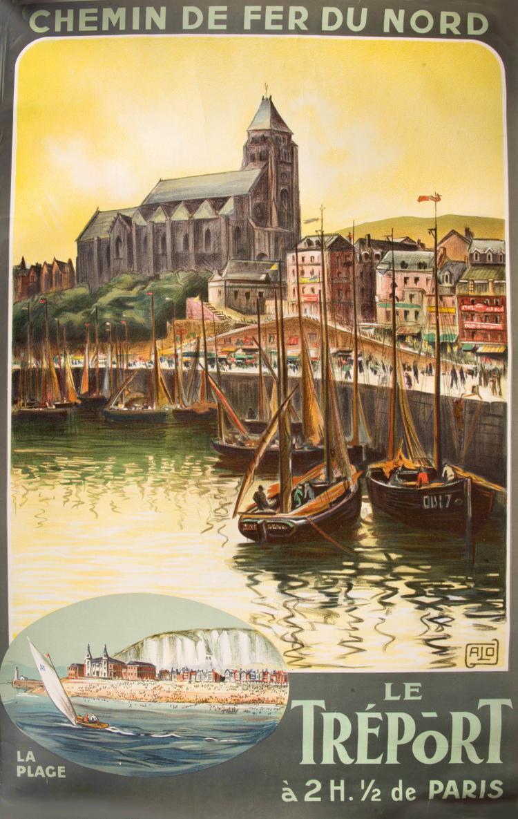 Charles Jean HALLO (1882-1969) Compagnie des Chemins de fer du Nord, Le Tréport, 100 x 61,5 cm.