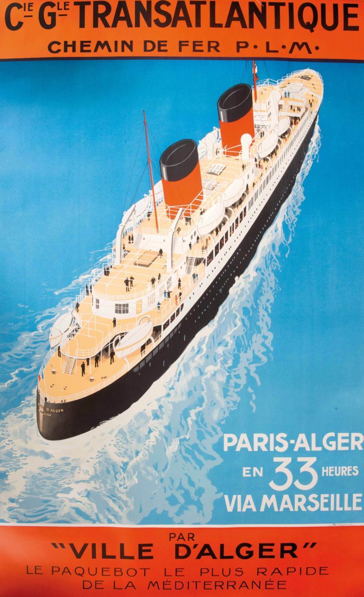 Sandy HOOK (1879-1960) Compagnie Générale transatlantique, paquebot Ville d'Alger, 100 x 62,5 cm.