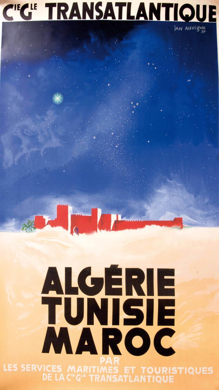 Jan AUVIGNE (1859-1952)   Affiche Compagnie Générale Transatlantique, Algérie, Tunisie, Maroc, 100 x 62,5 cm.
