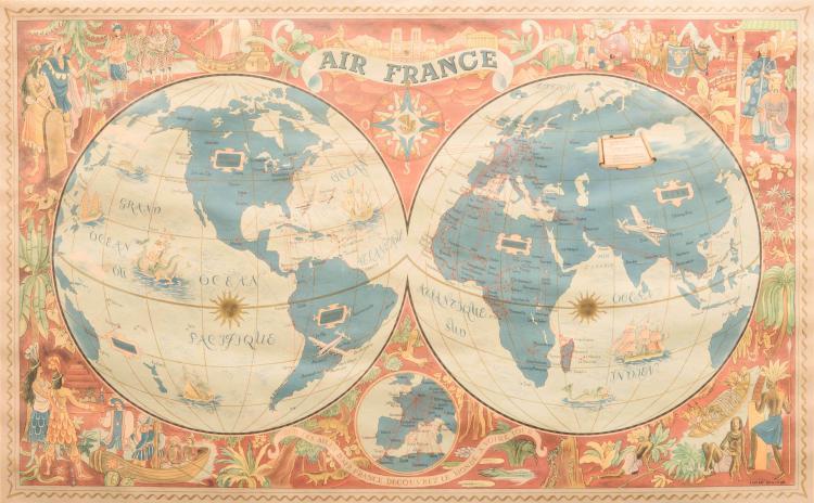 Lucien Boucher Sur les ailes d'Air-France découvrez le monde à votre tour. 1952. 60 x 100 cm. Insolée.