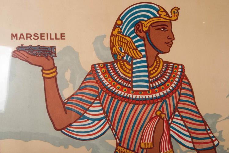 Affiche des Messageries Maritimes Marseille      - Alexandrie. La Route d'Égypte Messageries Maritimes paquebots à service rapide, 108 x 78 cm.