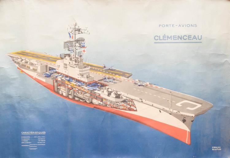 2 affiches de navires de guerre: le Clémenceau et la Jeanne d'Arc. Déchirures.