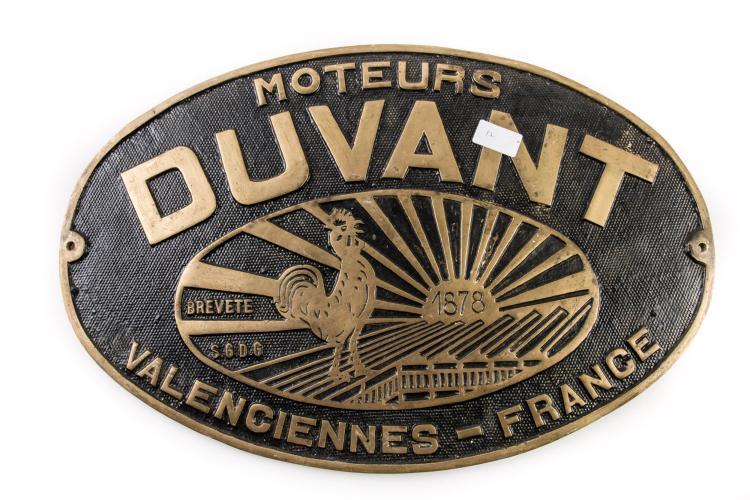 Plaque constructeur des moteurs Duvant à Valencienne. 36 x 54 cm.