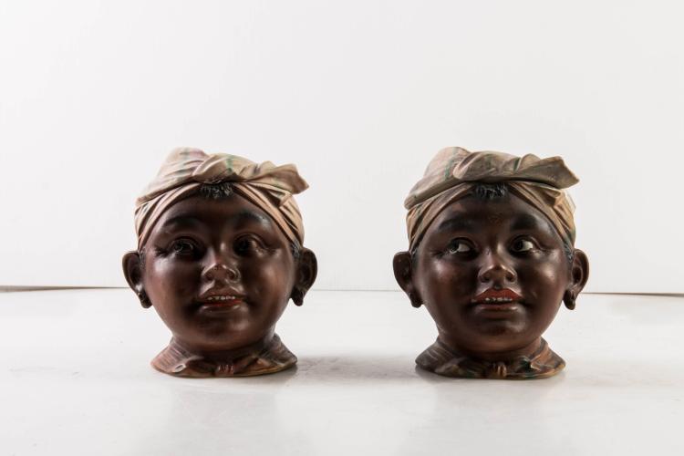 2 tabatières têtes d'Antillaises. Fin XIXe, début XXe.