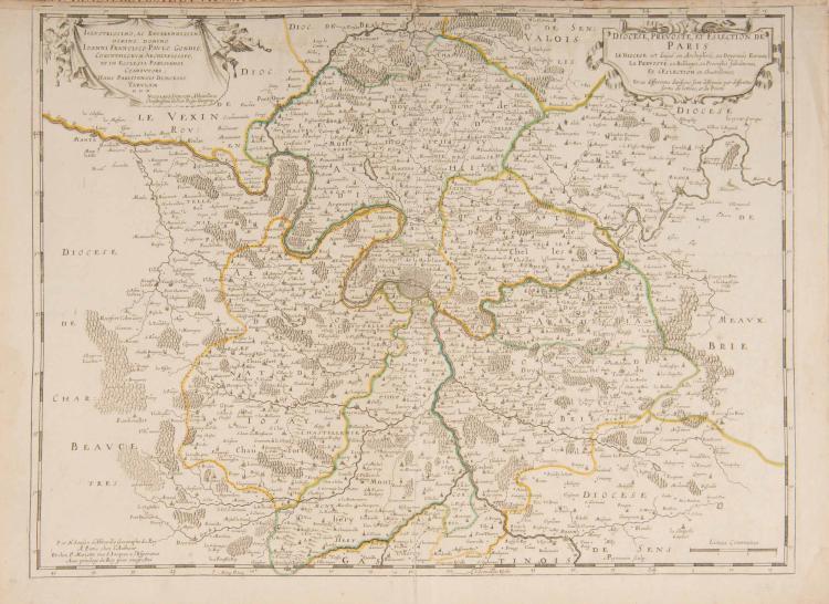 Région parisienne. Île de France.   5 cartes.    - Diocèse, prévôté et élection de Paris.... N. Sanson. (ca 1650) A Paris chez l'auteur et P. Mariette. Col.ép. 54 x 40 cm.    - La Beauce.... (Chartres, Dourdan, Etampes...) N.Sanson. 1652. chez P.Mariette. Col.ép. 57 x 41,5 cm.    - Champagne et Brie... N.Sanson. 1687. Chez l'auteur aux Galeries du Louvre .Retirage 1687 avec cassure du cuivre. Col.ép. 44,5 x 37 cm.    - Partie septentrionale du gouvernement de Paris. Le gouvernement général de l'Île de France. Sr Jaillot. 1708. Col.ép. 64 x 43 cm.    - Carte de la Prévôté et Vicomté de Paris.... G. Delisle. 1711. Col. ép. 64 x 49 cm.