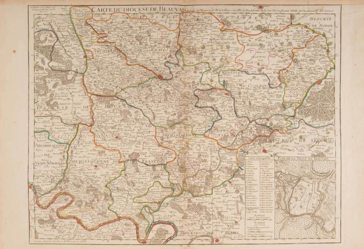 Beauvais.   Carte du diocèse de Beauvais ( Le Scellier ) par G. Delisle. 1710. Col. ép.59,5 x 46 cm. Plan de Beauvais.