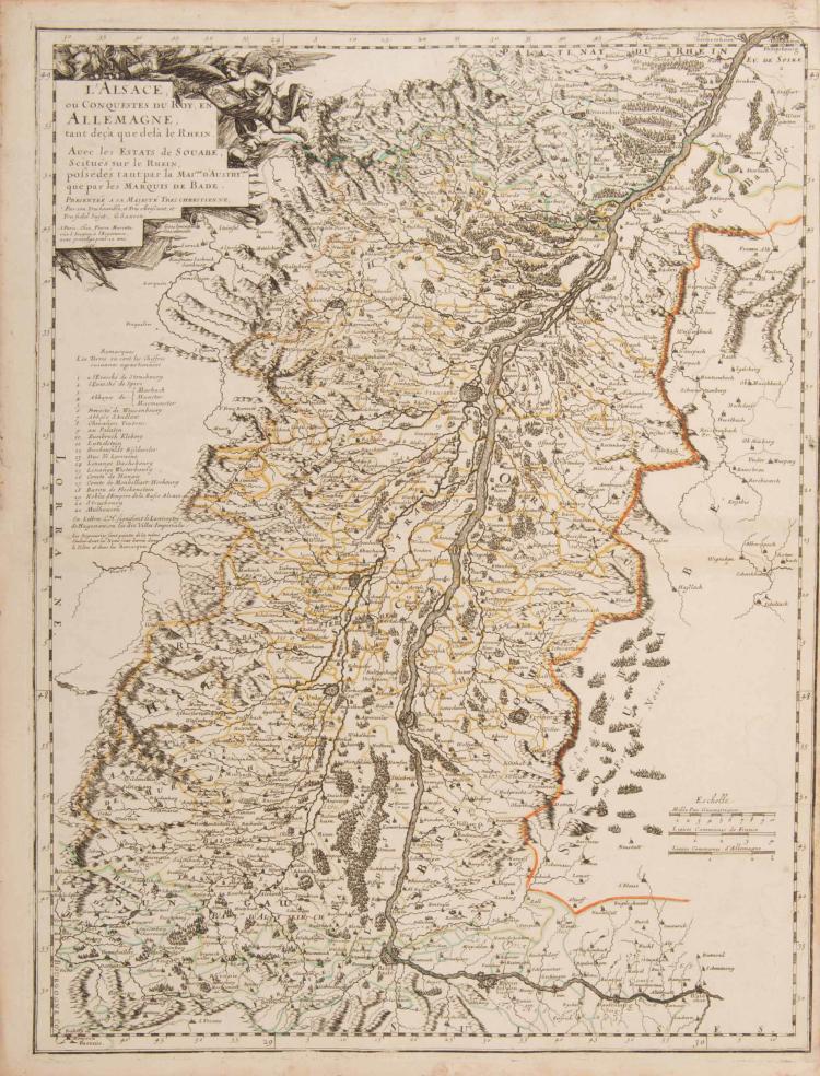 Alsace. 2 cartes. -L'Alsace ou conquestes du Roy en Allemagne...G.Sanson. 1666. A Paris chez P.Mariette...Col.ép. 42 x 57 cm. Palatinat du Rhin. Alsace, partie Souabe, Franconie.... N. Sanson. 1648. Col.ép. 47,5 x 37 cm.