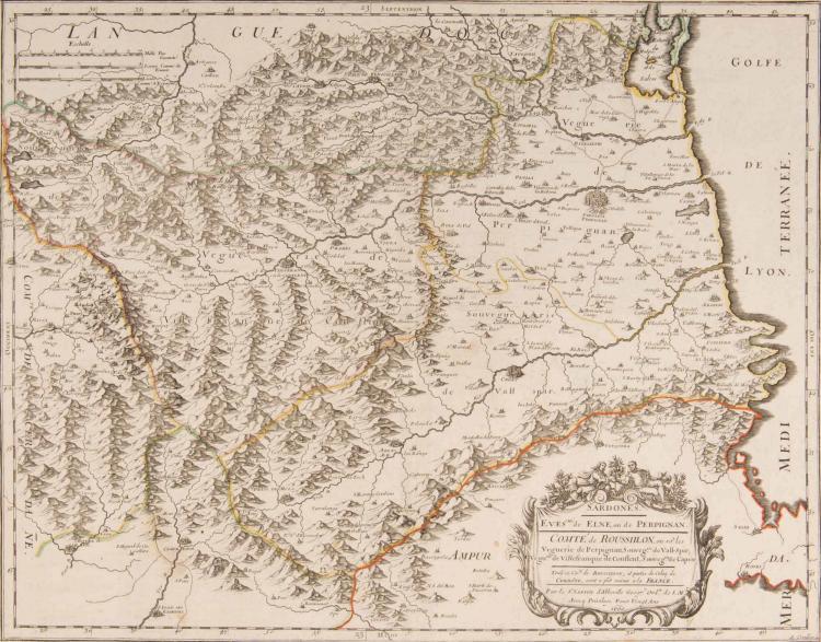 Roussillon. Sardones. Evêché d'Elne ou de Perpignan... Vall Spir, Ville - franche de Conflent, Capsir... Tout ce comté de Roussillon et partie de celui de Cerdagne sont à présent à la France. Sr Sanson 1660. Col.ép. 51 x 40 cm.