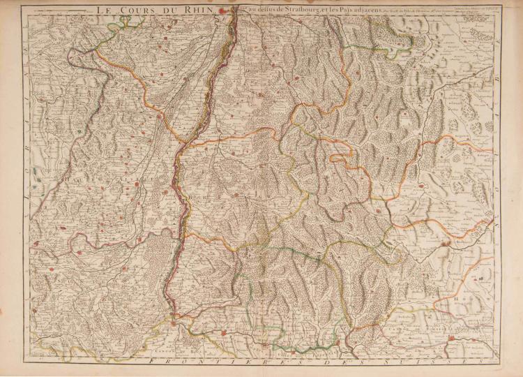 Cours du Rhin. 3 cartes formant l'ensemble. Le cours du Rhin et pays adjacens. G. Delisle ; 1704. (se vend à Amsterdam, chez Renard) Col.ép. 64 x 49 cm. chaque. - De Bâle à Strasbourg - De Strasbourg àWorms - DeWorms à Bonn Excellente cartographie du Rhin et des régions riveraines, de Bâle à Bonn, par un des meilleurs géographes de l'époque.