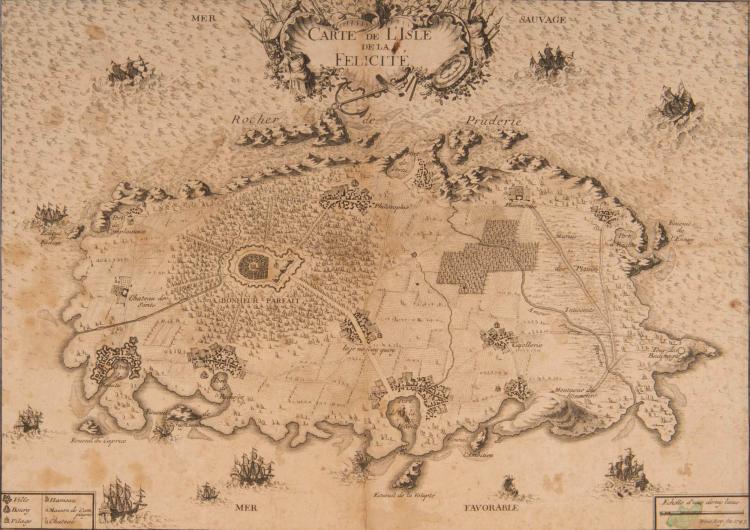 Une curiosité : Carte de l'isle de la Félicité   Weis (ou Wois) Arg. 1743 36 x 25 cm. Cartouche décoratif. Navires en mer. Sur le principe de la «Carte du Tendre» cette carte très curieuse et non ré   - pertoriée décrit une île du Bonheur, en mentionnant, entre autres, le village de «Cajollerie», les «marais des plaisirs onnocens», la «Tour du Badinage», «l'écueil de la Volupté», le «Rocher de Pruderie»... et le château du «Bonheur parfait». Rare.