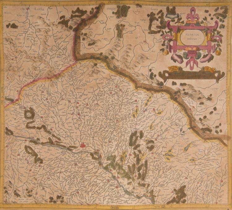 FRANCE   Alsace.   2 cartes. Alsatia inferior 43 x 35,5 Alsatia superior cum Suntgau, Brisgoia 47 x 36