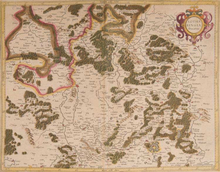 FRANCE Lorraine. 2 cartes. Lotharingia ducatus 47 x 36 (Lorraine méridionale) 47 x 36