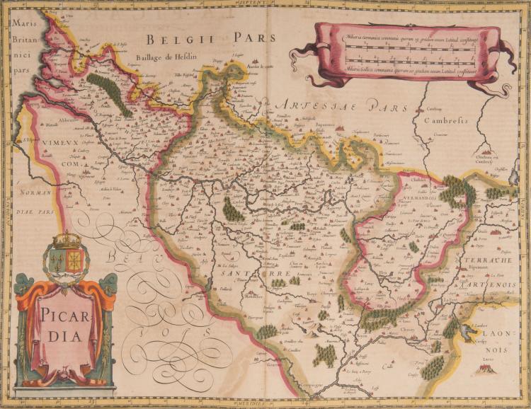 FRANCE Picardie. 2 cartes. Picardia 50 x 37. Picardie, Cham - pagne cum regionis adjentibus (Île de France) 39 x 36 pli