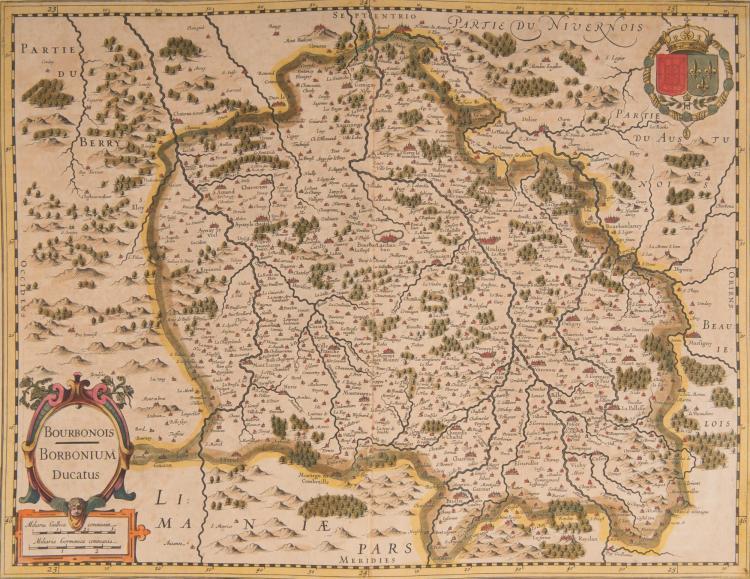 FRANCE Anjou. Berry. Bourbonnais. 3 cartes. Anjou 46 x 35. Berry ducatus 42 x 33,5. Bourbonois. Borbonium ducatus 50 x 37