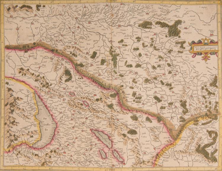 FRANCE Bourgogne. Franche Comté. 2 cartes. Burgundia ducatus 46 x 33. Bur - gundia comitatus Partie Suisse (Léman, Jura, Neufchâtel) 46 x 35.