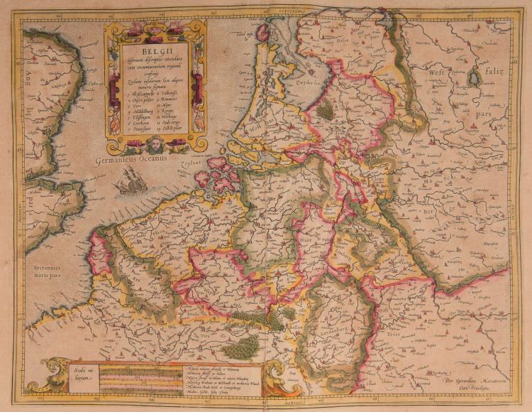 PAYS BAS. BELGIQUE.   Belgii. (Pays Bas et Belgique) 45 x 34,5 (Navire) pli
