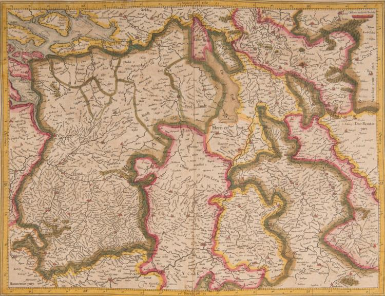 PAYS BAS. BELGIQUE.   Belgique.   3 cartes.    - (Brabant . Anvers, Bruxelles, Liège, Meuse, Rhin => Dusseldorf) 46 x 34    - Flandria comitatus (Gand, Bruges, Lille) 47 x 32 (Navire)    - Hannonia Namurcum comitatus 46,5 x 35