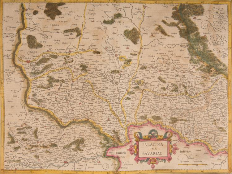ALLEMAGNE   Bavière, Franconie. 3 cartes.    - Palatinatus Bavariae (Francfort) 49 x 36,5    - Bavaria ducatus 47 x 36    - Frankenlandt Francia orientalis (Nuremberg, Bamberg) 50 x 33,5