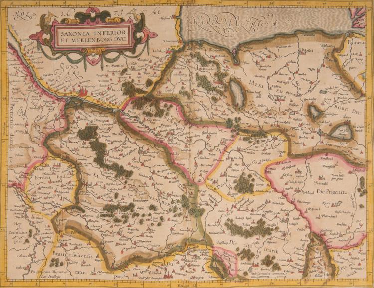 ALLEMAGNE   4 cartes.    - Saxonia inferior et Meklemburg ducatus (Hambourg, Lübeck, Rostock) 44,5 x 34    - Saxonia superioris, Lusatiae Misniaeque des   - cription (Leipzig, Dresde, Prague) 49 x 34,5    - Holsatia ducatus (Hambourg, Lübeck) 47,5 x 35    - Marca Brandeburgensis, Pomerania (Berlin) 47 x 35