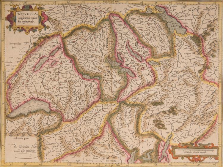 SUISSE   5 cartes.    - Helvetia cum finitimis regionibus confederatis 47 x 37,5    - Das Wislipur Gergov (Vaud, Léman, Neufchatel, Berne) 48 x 36    - (Bâle, Zurich) 47 x 35,5    - (Thun, Interlaken, Lucerne, lacs, Furka) 47 x 36    - Chorographica tabula lacus Lemani locorumque circumiacentum Auctore I A C G (J. Goulart) genevensis (lac Léman, Genève, Lausanne, Evian,Thonon) (Rose et bateaux) Très belle carte, décorative, la première exacte et très détaillée du lac Léman.