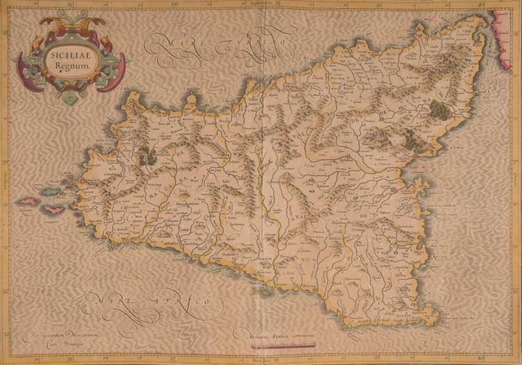 ITALIE   Sicile. Siciliae regnum 47,5 x 33,5 (pli)