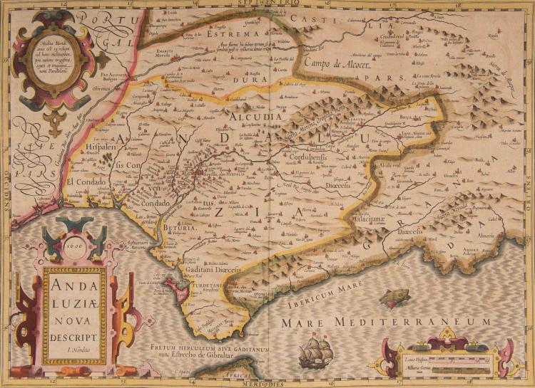 ESPAGNE Andalousie. Andalouziae nova descriptio I. Hondius 1606 50 x 35 (Navire, monstre marin)