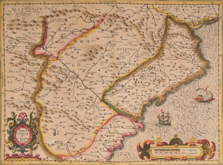 ESPAGNE Aragon et Catalogne. Aragonia et Catalonia 47 x 34 (Navires dont une galère)